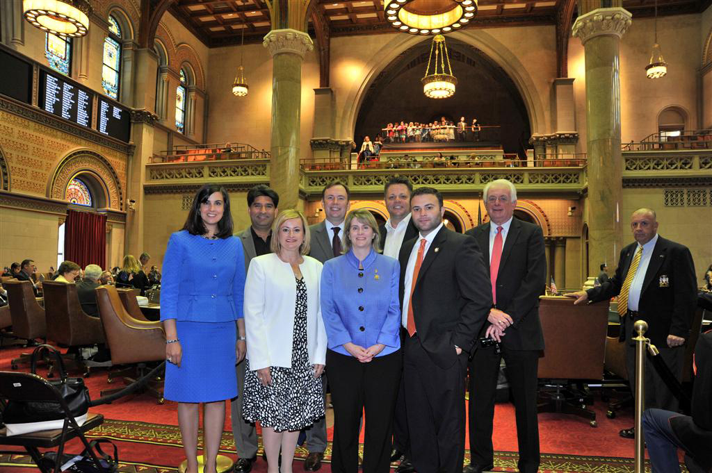 The Staten Island Board of Realtor�s visit the State Capitol and chat with Assemblyman Cusick and Assemblywoman Malliotakis in the Assembly Chamber. -April 2014