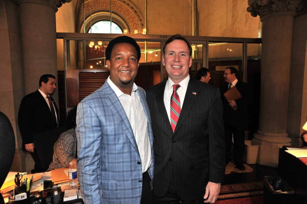 Assemblyman Cusick and Pedro Martinez in the Assembly Chamber.