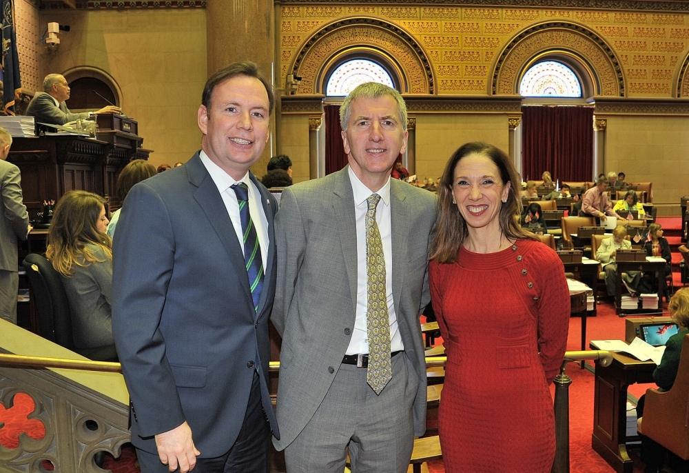 Assemblyman Cusick, Mairtin O Muilleoir, former Mayor of Belfast and current member of the Northern Ireland Assembly for Belfast South and Assemblywoman Amy Paulin are pictured in the Assembly Chamber in Albany.