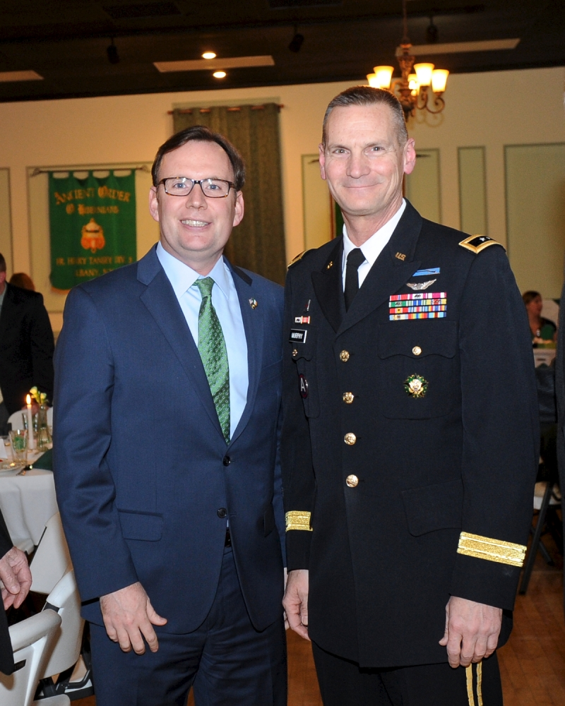 Assemblyman Michael Cusick pictured with Major General Patrick A. Murphy who was honored at a St. Patrick's Dinner hosted by the American Irish Legislators Society of New York State.