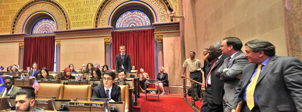 "Assemblyman Cusick attends the 2015 ""Intern Mock Session"" in the Assembly Chamber with his Intern, Konstantin Sologub. Konstantin was a Whalen Intern in the Assemblyman's Albany office for the 2015 Legislative Session. The Whalen Interns are from the University College Cork, Cork Ireland."