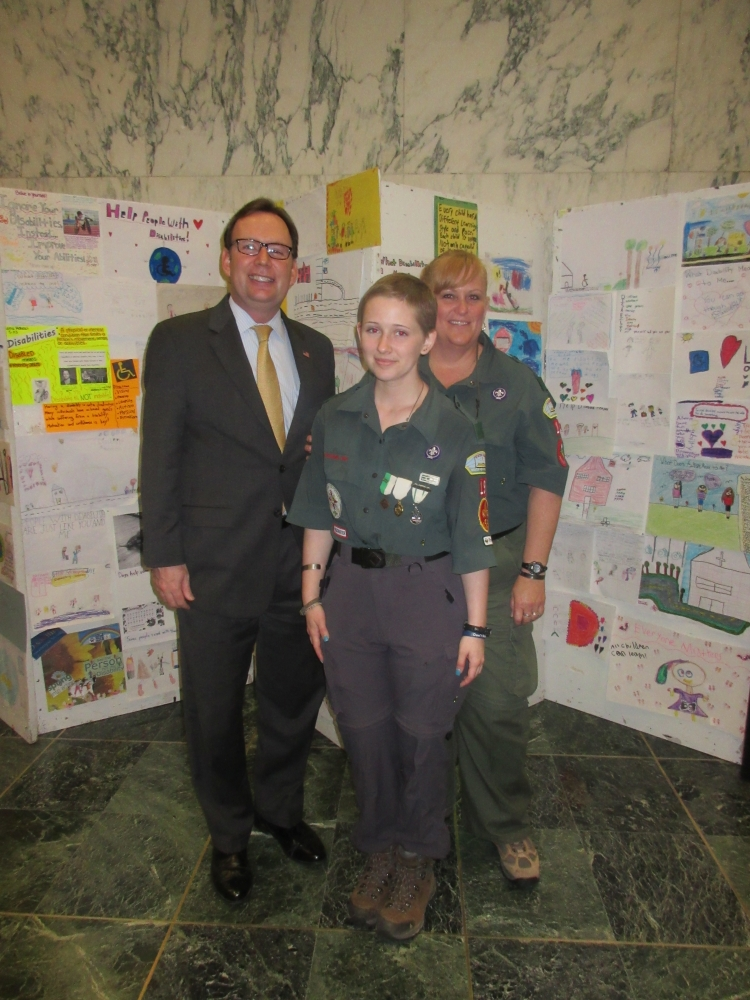 Assemblyman Michael Cusick welcomed Boy Scouts of America to the State Capitol in May.  He is pictured with Katie Casserly from Crew 19, and her mother, Cyndie Casserly of Staten Island.