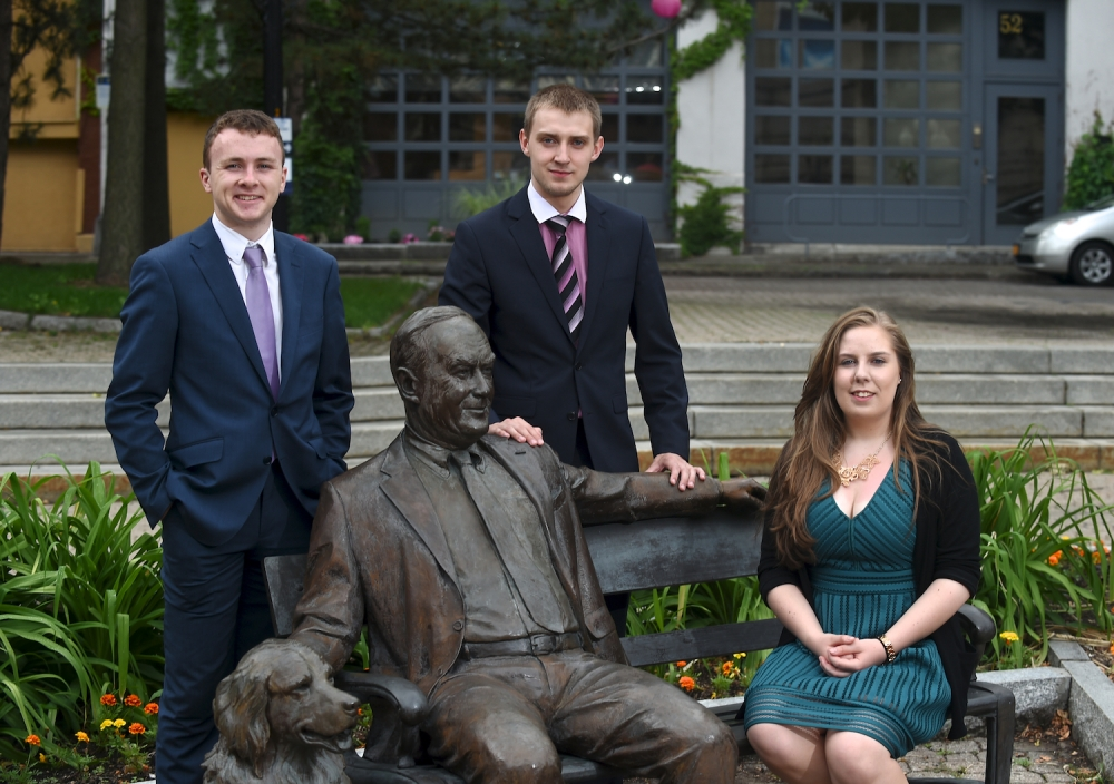 Chris Boyle, Konstantin Sologub (Intern in Assemblyman Cusick's office) and Shannon Sweeney, Whalen Interns from the University College Cork are pictured in this photo taken at the Tricentennial Park