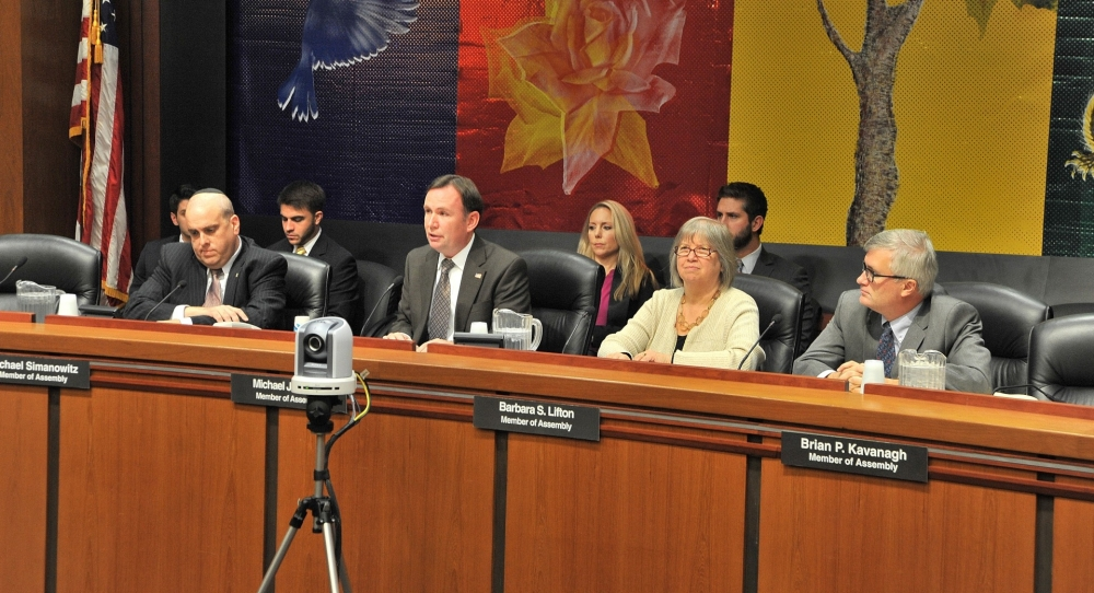 Assemblyman Mike Cusick, Chair of the Assembly Election Law Committee, presides over the Committee's Public Hearing on Voter Accessibility.  The Public Hearing was held in Albany on November 18, 2015.
