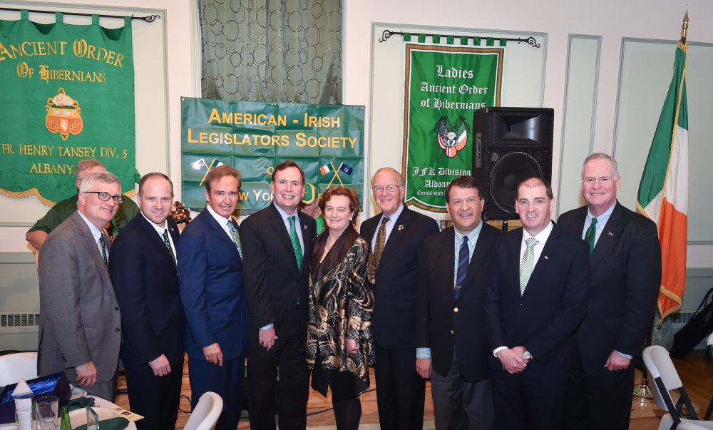 The 43rd Annual St. Patrick's Dinner hosted by Assemblyman Cusick, as President of the American Irish Legislators Society of New York State. From left to right in the photo: Assemblyman Brian Kavanagh, Senator Timothy Kennedy, Congressman Brian Higgins, Assemblyman Michael Cusick, Consul General of Ireland in New York Barbara Jones, Assemblyman David McDonough, Senator George Latimer, Irish Minister of State at the Department of Defense Paul Kehoe, and Assemblyman Michael Fitzpatrick.