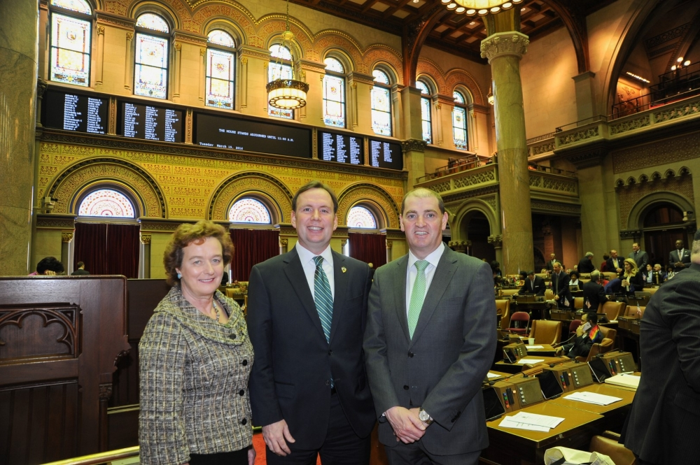 "Assemblyman Cusick introduces a resolution in the Assembly memorializing Governor Cuomo to name April 24th, 2016 as ""Irish Republic Day"" in the State of New York. The date marks the 100th Anniversary of the 1916 Easter Rising that took place in Dublin. Consul General of Ireland Barbara Jones and Minister of State for Defense Paul Kehoe joined him."