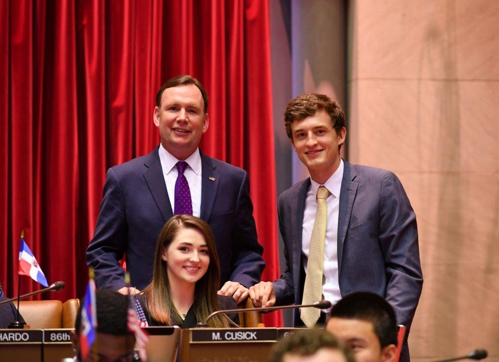 "Assemblyman Cusick attends the 2018 ""Intern Mock Session"" in the Assembly Chamber with his Interns, Mairead Supple from University College Cork, Cork Ireland and Matthew Henning from SUNY Pl"