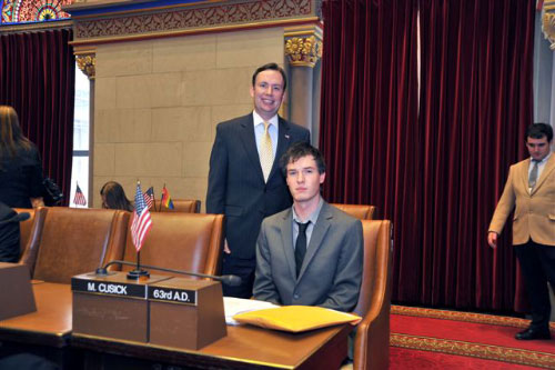 "Assemblyman Cusick attends the 2011 ""Intern Mock Session"" in the Assembly Chamber with his Intern, Tony Rodgers. Tony is a Whalen Intern in the Assemblyman's Albany office for the 2011 Legislative Session. The Whalen Interns are from the University College Cork, Cork Ireland."