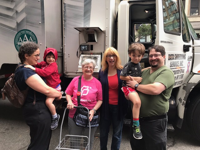 Constituents join Assemblymember Linda B. Rosenthal at her annual shred day event with AARP.
