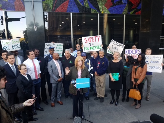 Transit advocates and Assemblymember Linda B. Rosenthal at a press conference demanding the MTA increase the number of ADA accessible subway stations.