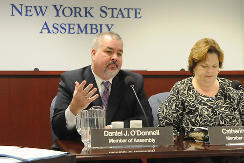 Alongside Assembly Education Committee Chair Catherine Nolan, O�Donnell questions NYC Dept. of Education Administrators on efforts to assist English Language Learners. O�Donnell is a member of the Assembly�s Committee on Education.