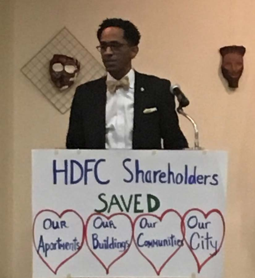 Assembly Member Al Taylor speaks about efforts to preserve and expand the City's stock of affordable housing during a Housing Development Fund Corporation forum, November 2017.