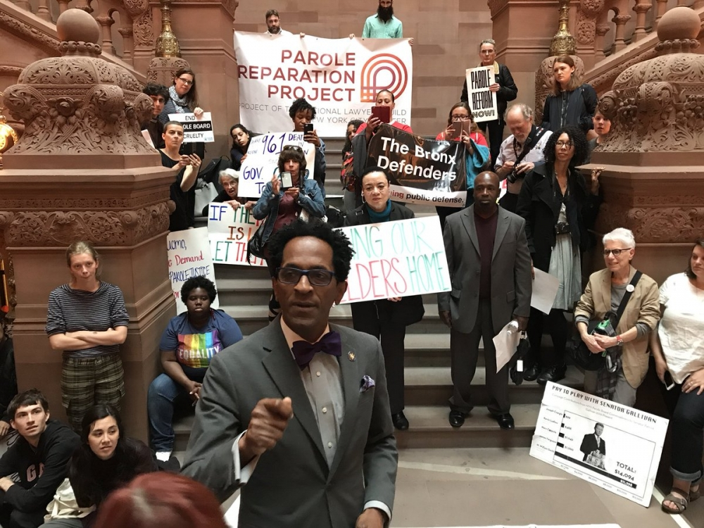 Assemblymember Taylor speaks in the Capitol in Albany in support of a parole reform bill introduced by Assemblymember David I. Weprin, June 5 2018.