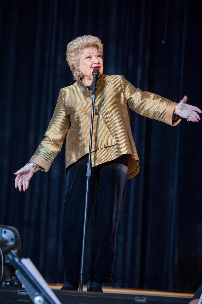 February 22�Julia Richman High School, UES� Entertainer Marilyn Maye performs a medley at the Julia Richman Education Complex for the inauguration of Assembly Member Rebecca Seawright.