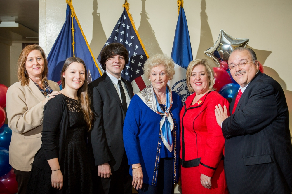 February 22�Julia Richman High School, UES--Assembly Member Rebecca Seawright and family after her swearing-in.