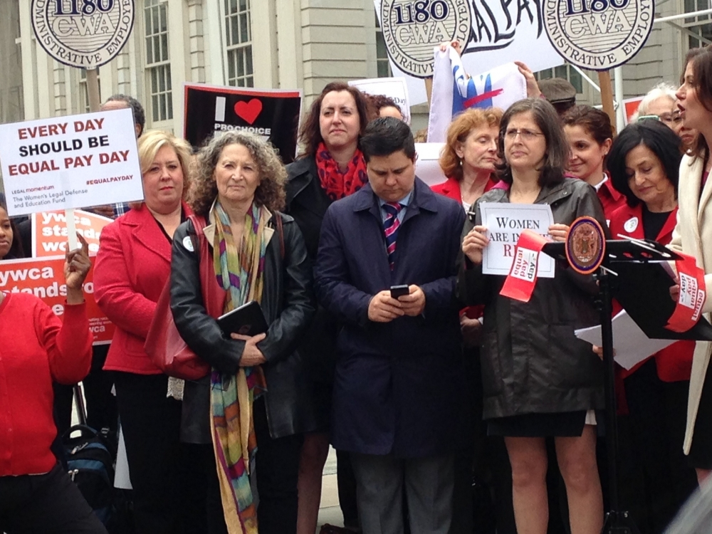 "14 April 2015 � New York City Hall � On Equal Pay Day Assembly Member Seawright stands on the steps of City Hall in support of the proposed New York Equal Pay Bill, <a href=""/leg/?bn=A6075&term=2015"" target=""blank"">A6075</a>."