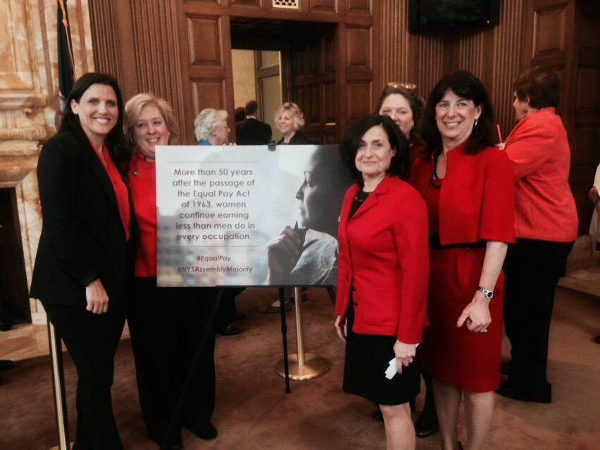 April 27, 2015--Albany, NY--Assembly Member Seawright stands with PowHer NY representatives in support of the passage of the Equal Pay Bill.