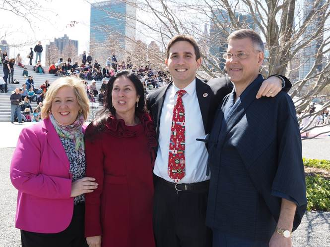 April 25, 2015�Roosevelt Island�Assembly Member Seawright stands with Council Member Kallos and Roosevelt Island Residents Christina Delfico and Jim Luce for the Cherry Blossom Festival.