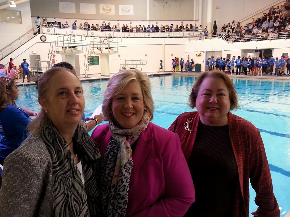 April 25, 2015�Asphalt Green, Upper East Side�Assembly Member Seawright stands with State Senator Liz Krueger and Manhattan Borough President Gale Brewer in support of Asphalt Green�s Big Swim.