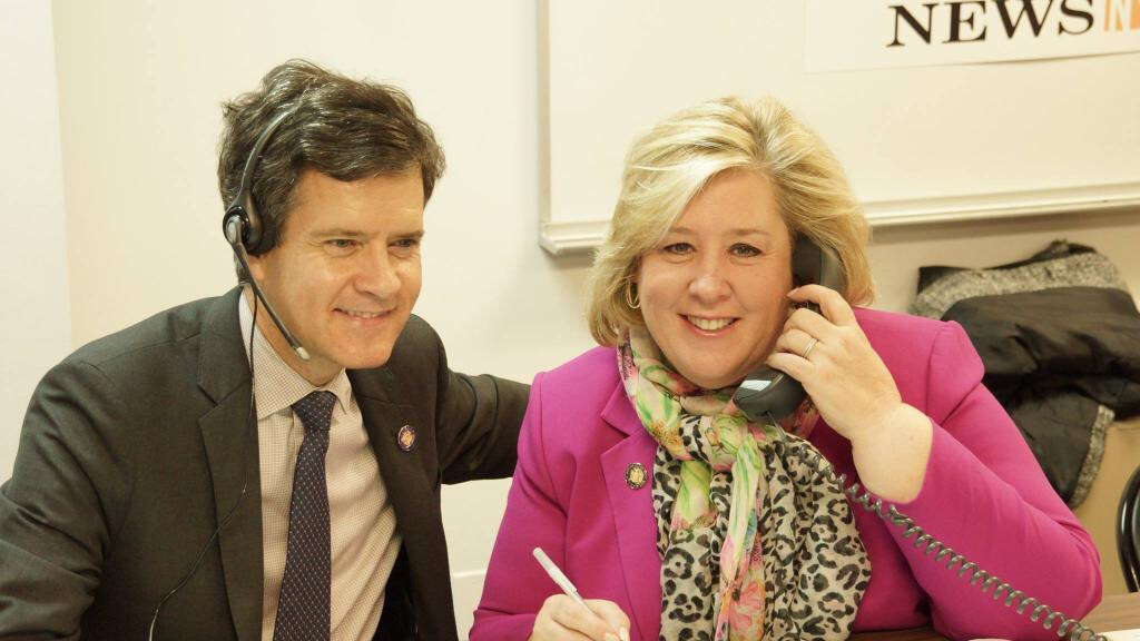 May 1, 2015�New York, NY�Assembly Member Seawright takes calls at the CUNY Citizenship Now! Daily News call center with State Senator Brad Hoylman.