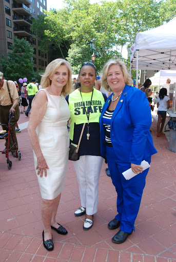 June 13, 2015�Roosevelt Island Day--Congresswoman Carolyn Maloney, Doryne Isley of Urban American, and Assembly Member Rebecca Seawright (photo courtesy Frank Farance)