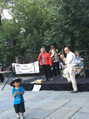 National Night Out, August 4, 2015---Carl Schurz Park, NYC---Assembly Member Seawright speaks to the crowd at the 19th Precinct Community Council�s National Night Out.