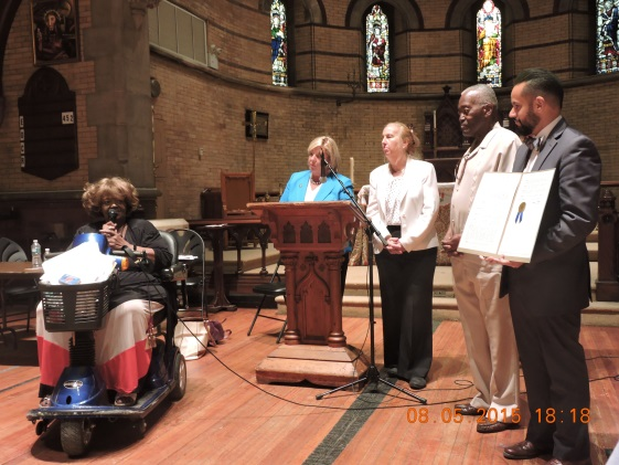 August 5, 2015� Chapel of the Good Shepherd, Roosevelt Island ---Roosevelt Island resident Dolores Green speaks about her late friend Dominic Sciallo.