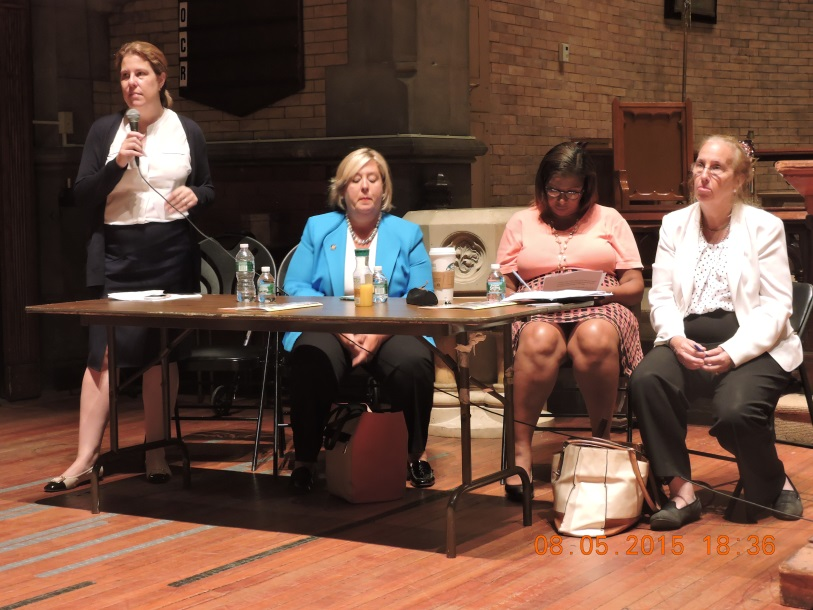 August 5, 2015� Chapel of the Good Shepherd, Roosevelt Island--- Assembly Member Seawright�s counsel speaks on sub metering at a Roosevelt Island town hall.