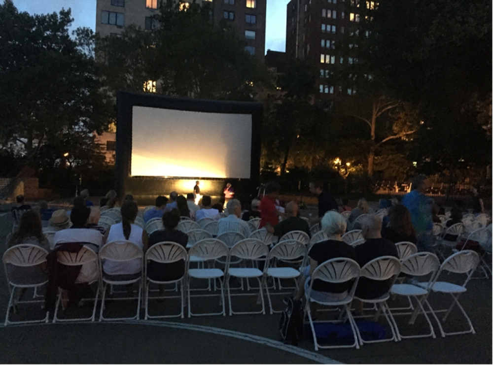 Sunset Film Festival, August 19, 2015---Carl Schurz Park, NYC---Assembly Member Seawright thanks Executive Director David Williams, Director of Events Ann Meschery, Director of Operations Patrick McCluskey and all Carl Schurz volunteers for their hard work.