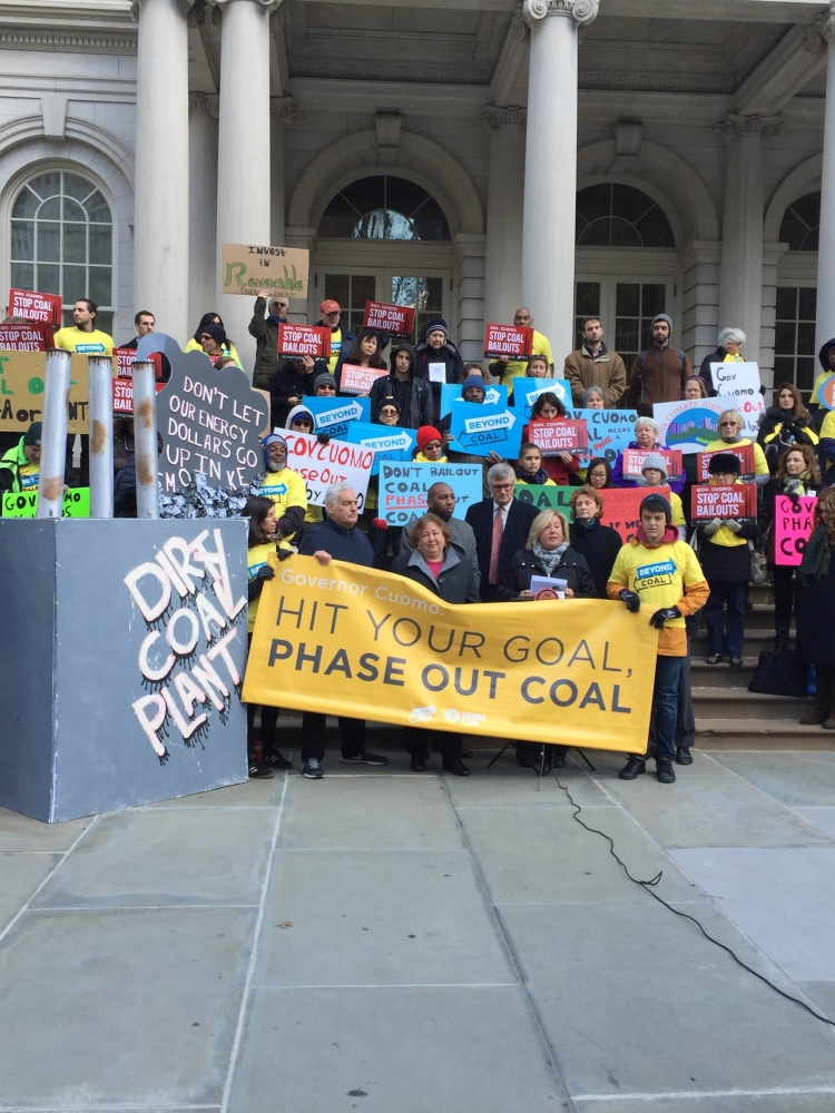 November 23, 2015 � New York City Hall � Assembly Member Rebecca A. Seawright stands with Sierra Club and colleagues to go �coal turkey� and make NYS coal free by 2020.