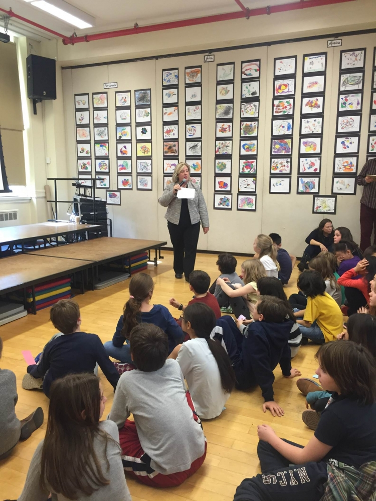 December 8, 2015---PS 290 Manhattan New School, Upper East Side--- Assembly Member Rebecca A. Seawright speaks to the fifth grade class about her role as a State Assembly Member.
