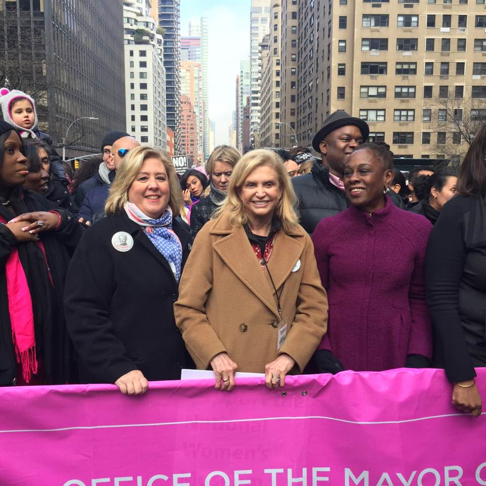 Jan. 2017 – Assembly Member Rebecca Seawright with Congress Woman Carolyn Maloney and First Lady Chirlane McCray at the Women's March in New York City.<br />