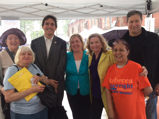 June 17, 2017: Seawright at Roosevelt Island Day with constituents, Congresswoman Carolyn Maloney, and Council Member Ben Kallos.<br />