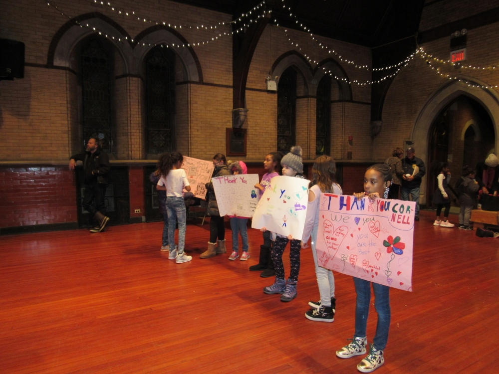 The Girl Scouts made posters to thank Cornell Tech for their work with youth on the island.<br />