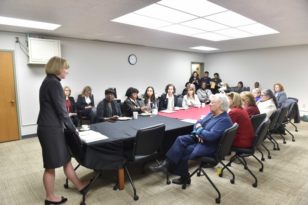 State University of New York (SUNY) Chancellor Dr. Kristina Johnson meets with the Women's Legislative Caucus, where Assembly Member Rebecca Seawright is a Director.<br />