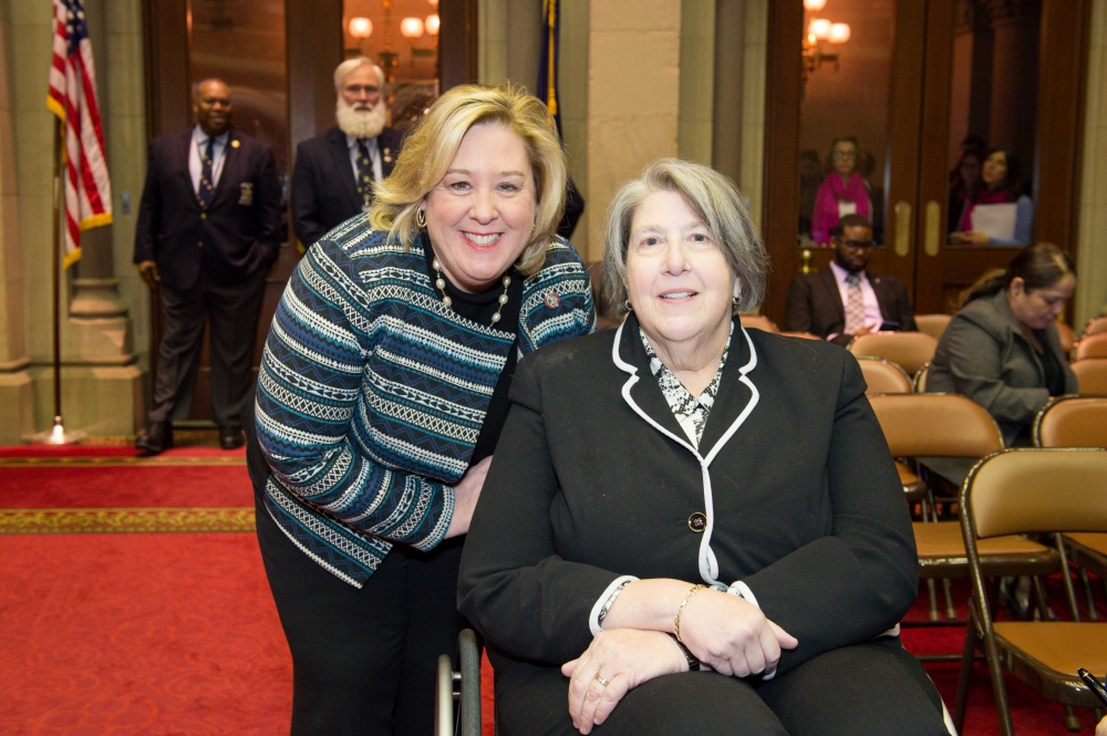 Seawright with Educational Alliance Executive Vice President, Programs and Operations Janet Weinberg. She was introduced to the Assembly by Seawright.<br />