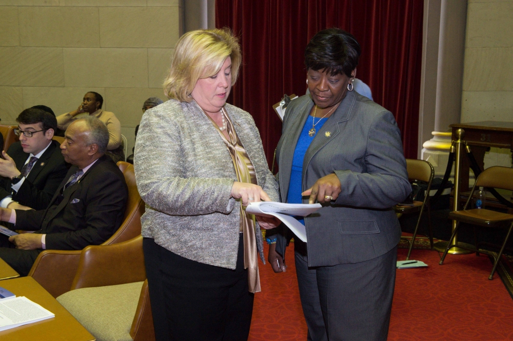Seawright discusses her bill with colleague Crystal Peoples-Stokes, Chair of the Committee on Governmental Operations and the Legislative Women's Caucus.<br />