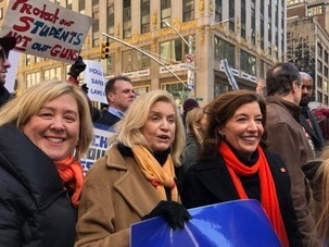 Seawright, Rep. Maloney and Lt. Governor Kathy Hochul in the <strong>March For Our Lives.</strong><br />