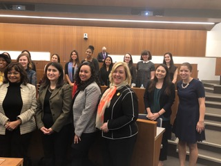 Rebecca standing with the Columbia Law Students at their Women's Leadership Panel. The group included young women who are interested in running for office one day. She spoke to the group about the challenges of running for office as a woman and how she gets results for her constituents.