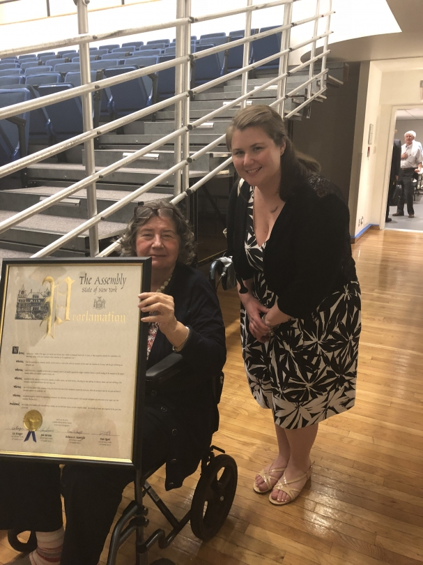 Assembly Members Seawright and Quart, and Senators Krueger and Serrano jointly presented Jackie Ludorf  with a proclamation for her service to the City of New York as a Member and former Chairwoman of Community Board 8.