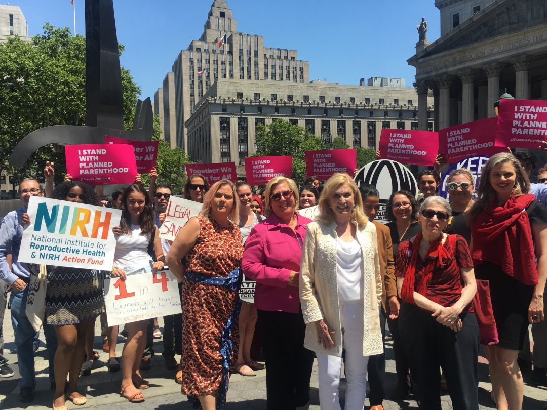 Seawright stands with Congresswoman Carolyn Maloney to slam Supreme Court pick.