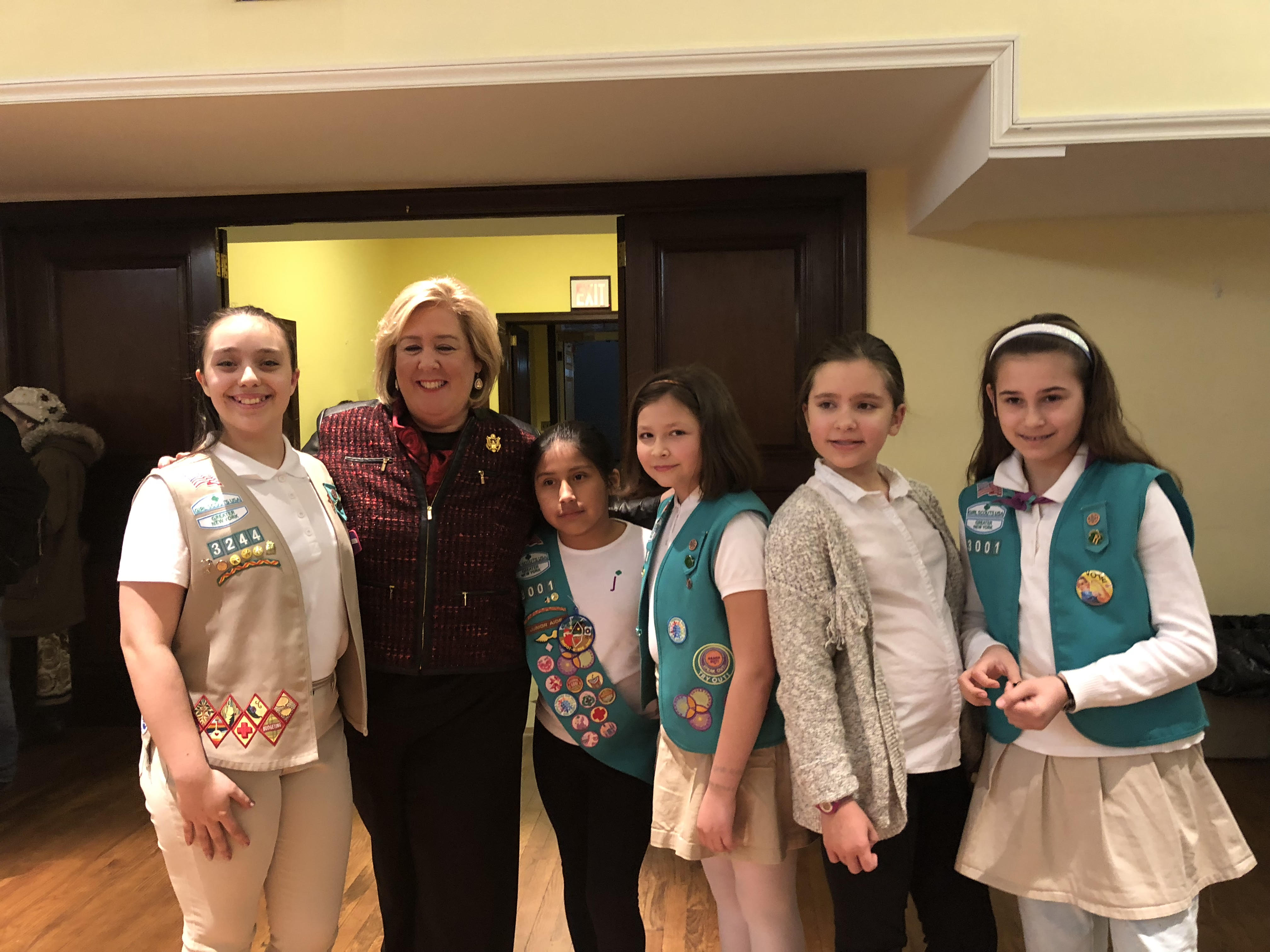 Seawright with Roosevelt Island Girl Scouts from her district.