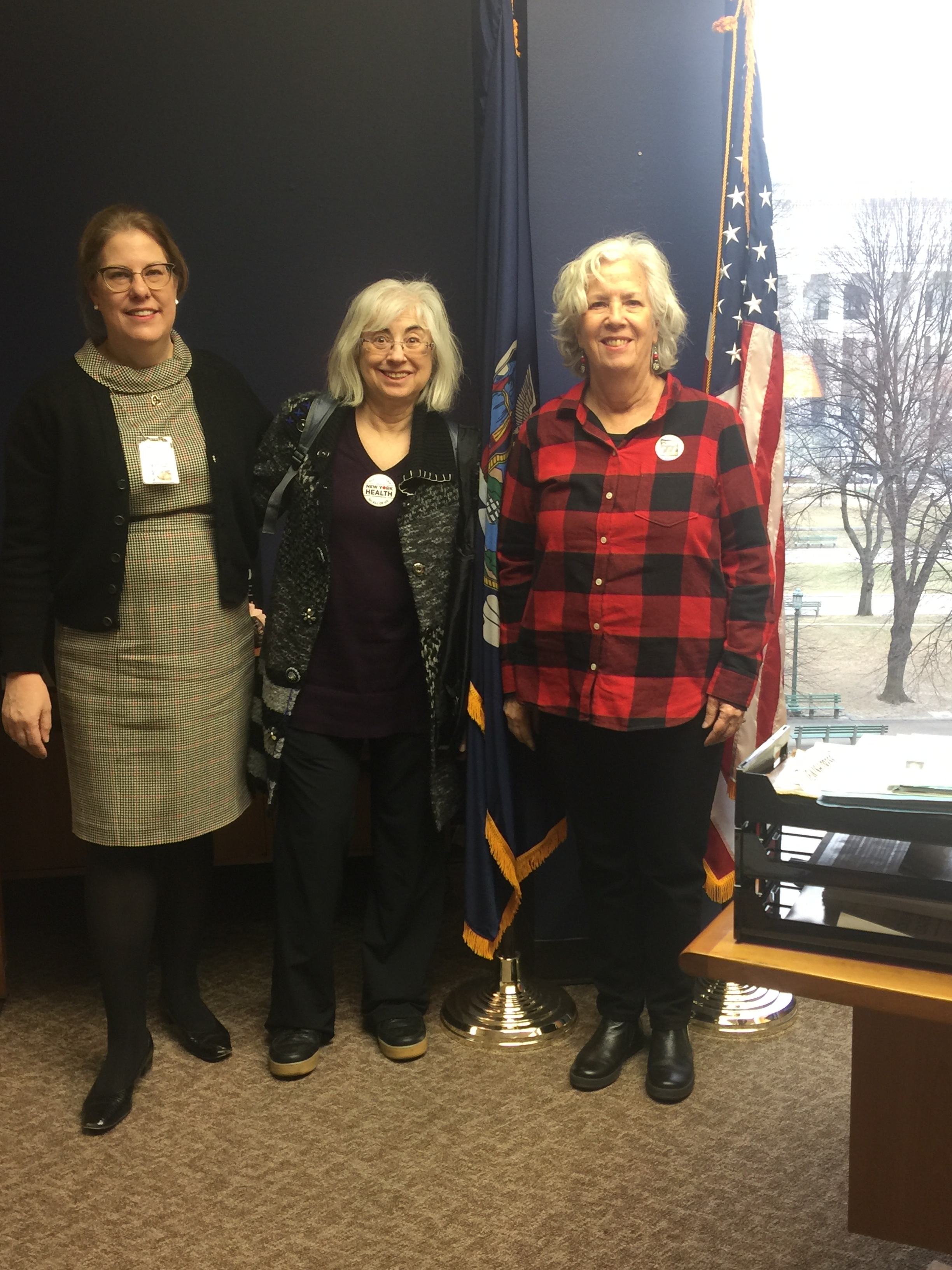 Seawright Counsel Rebecca Graham, Ellen Polivy, Vicki Feinmel, and Joan Brooks (not pictured) visit the legislative office to discuss their support for the single-payer system in New York State.