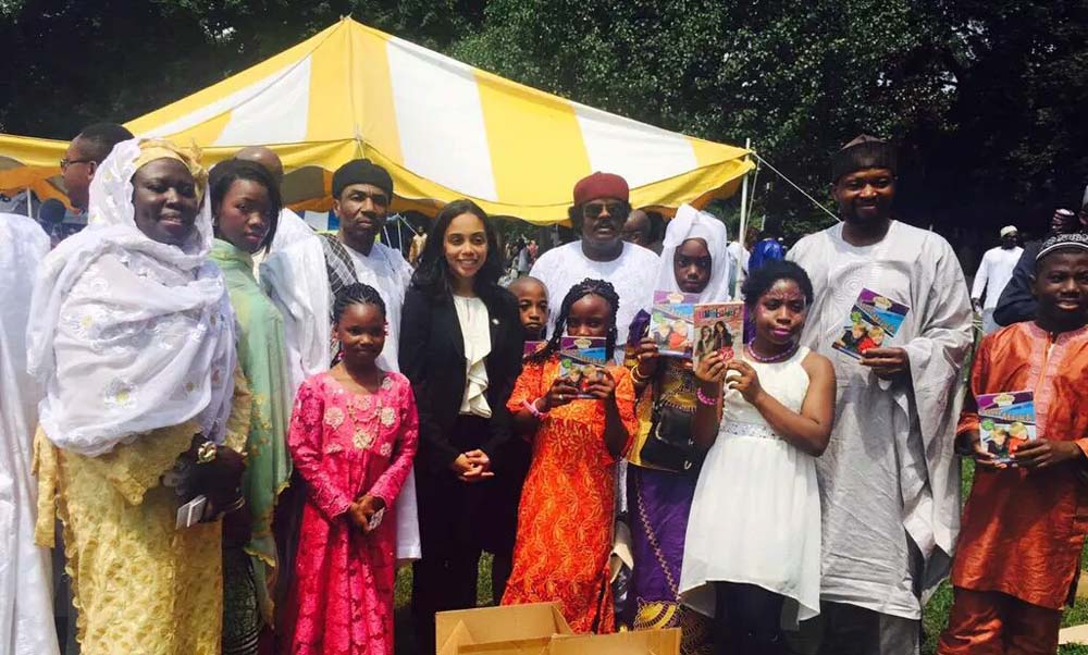 Assemblywoman Latoya Joyner greets the community as they celebrate Eid ul Fitr.