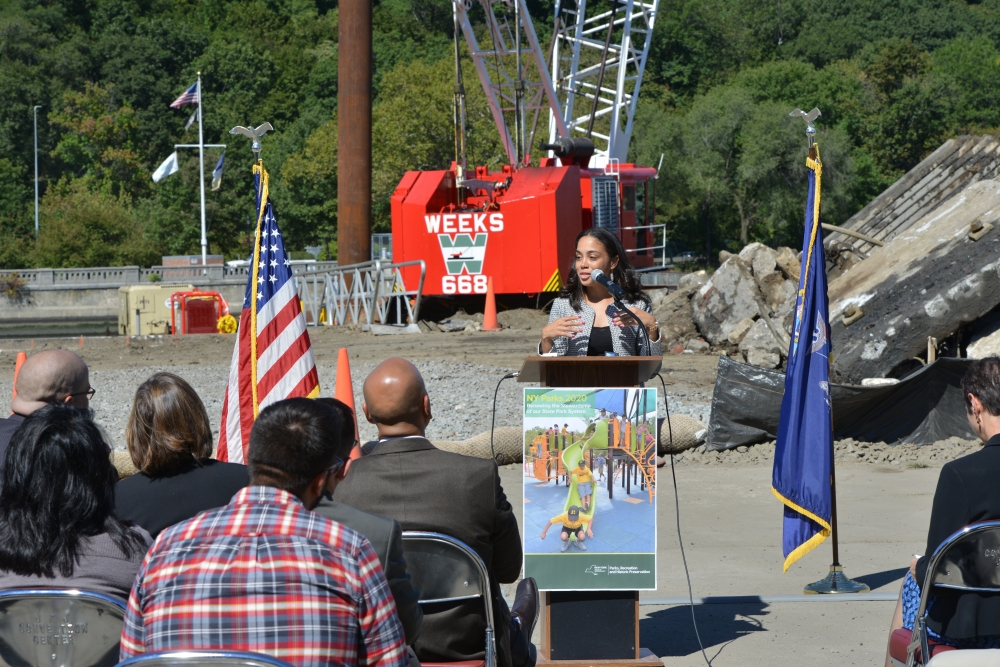 Assemblywoman Latoya Joyner joins her colleagues in support of important work that will ensure storm resiliency, prevent flooding and improve plazas at Roberto Clemente State Park.