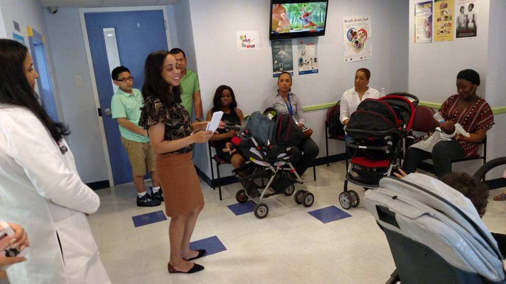 During Maternal Depression Awareness month, Assemblywoman Latoya Joyner visited local mothers at the Healthy Children Medical Practice, a pediatric clinic located on Walton Avenue.<br />