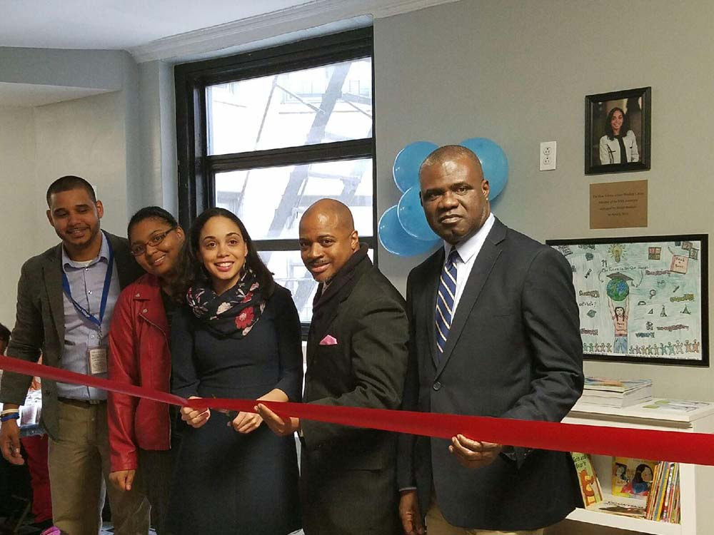 Assemblywoman Latoya Joyner joins Bridge Builders Community Partnership and the Bridge Haven Family Shelter, a Samaritan Village transitional residence, to launch a new Family Literacy Program and literacy corner to be used by  parents in the residence to train families on how to strengthen their children's reading.<br />