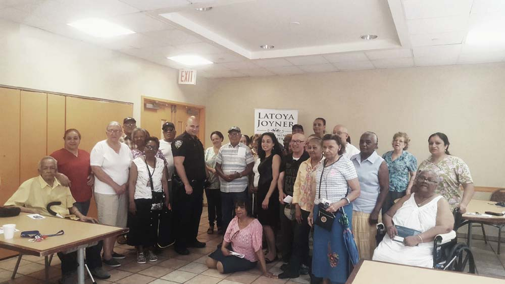 Assemblywoman Latoya Joyner meets with seniors to discuss community and quality of life issues.<br /> <br />