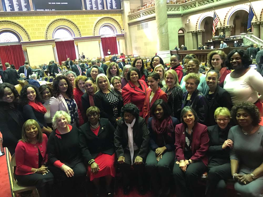 Assemblywoman Latoya Joyner with her colleagues during International Women's Day.<br />