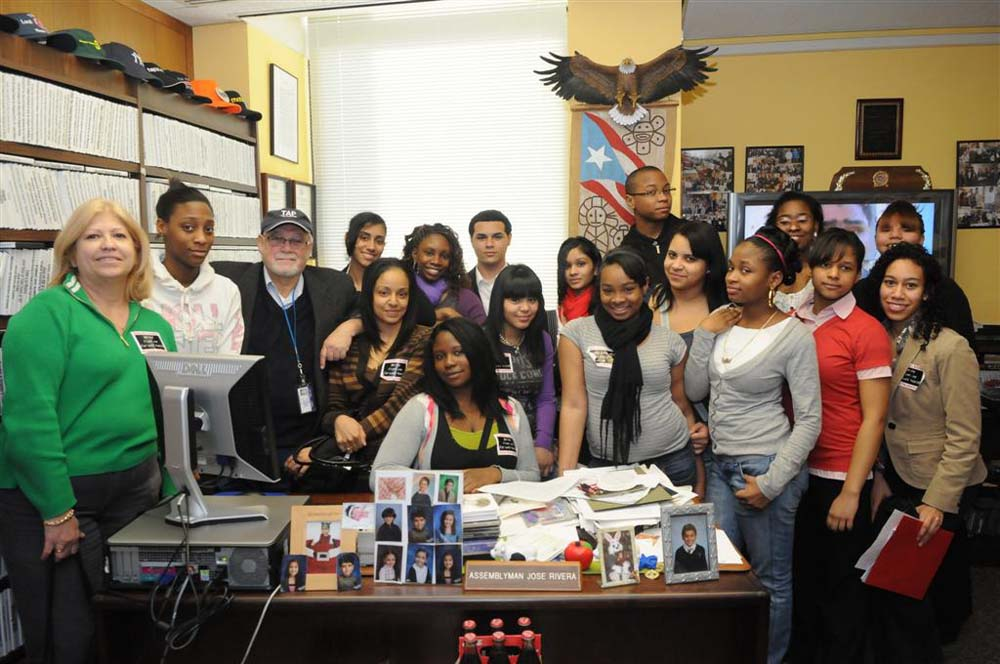 Assemblyman Jose Rivera with students from Fordham University in the Bronx<br />
